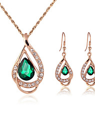 cheap -Women's Jewelry Set Stud Earrings Necklace / Earrings Pear Cut Ladies Earrings Jewelry Red / Green For Wedding Party Daily Casual