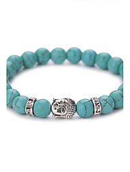 cheap -Turquoise Bead Bracelet Aquarius Ladies Vintage Fashion Birthstones Synthetic Gemstones Bracelet Jewelry Silver / Golden For Party Daily Casual