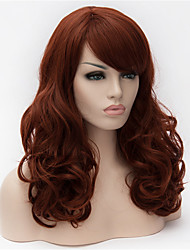 cheap -Synthetic Wig Curly Curly Asymmetrical With Bangs Wig Long Dark Auburn Synthetic Hair Women's Natural Hairline Brown