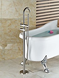 cheap -Shower Faucet Bathtub Faucet Bathroom Sink Faucet - Contemporary Art Deco / Retro Modern Nickel Brushed Tub And Shower Ceramic Valve