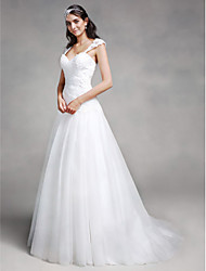 cheap -A-Line Sweetheart Neckline Court Train Lace / Tulle Regular Straps Made-To-Measure Wedding Dresses with Appliques / Criss-Cross 2020