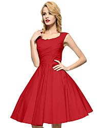 cheap -Women's Plus Size Party Vintage A Line Dress - Solid Colored Square Neck Cotton Khaki Royal Blue Lavender XL XXL XXXL