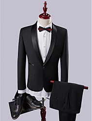 cheap -Black Solid Colored Slim Fit Polyester / Viscose Suit - Shawl Collar Single Breasted One-button / Suits