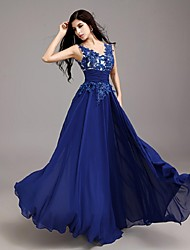 cheap -A-Line Illusion Neck Floor Length Chiffon Elegant / Keyhole Formal Evening / Black Tie Gala Dress with Appliques 2020