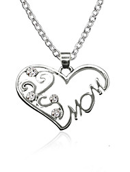 cheap -Women's Pendant Necklace Heart Ladies Sweet Fashion Zircon Alloy Silver Necklace Jewelry For Daily Going out