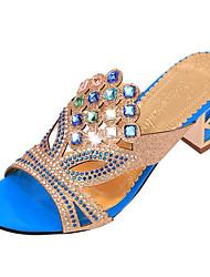 cheap -Women's Chunky Heel Crystal Leatherette Summer Black / Golden / Royal Blue / EU41