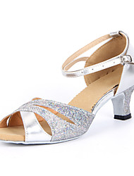 cheap -Women's Dance Shoes Latin Shoes Ballroom Shoes Salsa Shoes Line Dance Sandal Buckle Chunky Heel Silver Blue Gold Buckle / Sparkling Glitter / Suede / Sparkling Glitter / EU42
