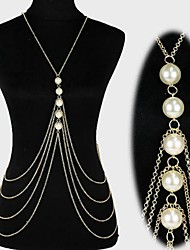 cheap -Belly Body Chain Body Chain Statement Tassel European Women's Body Jewelry For Christmas Gifts Daily Layered Tassel Fringe Pearl Pearl Imitation Pearl Gold Plated Gold Silver / Harness Necklace