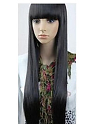 cheap -Synthetic Wig Straight Kardashian Style With Bangs Wig Black Synthetic Hair 10 inch Women's Black Wig Very Long hairjoy