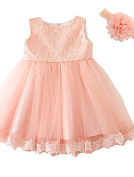 cheap -Baby Girls' Bow / Dresswear Party Solid Colored Short Sleeve Dress Pink