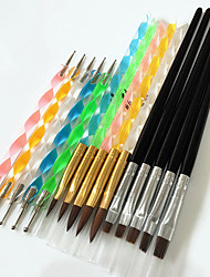 cheap -5pcs nail art acrylic pen brush 5pcs 2 way nail art dotting tool 5pcs nail art brushes kits with black handle nail tools