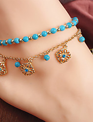 cheap -Women's Anklet Double Unique Design Tassel Bohemian Beaded Fashion Imitation Diamond Anklet Jewelry Golden For Party Daily Casual