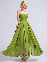 cheap -A-Line Strapless Ankle Length Chiffon Bridesmaid Dress with Ruched / Open Back