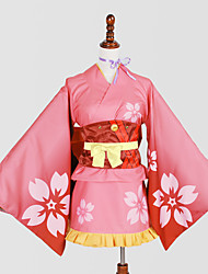 cheap -Inspired by Cosplay Cosplay Anime Cosplay Costumes Japanese Cosplay Suits / Kimono Print Cravat / Yukata / Headpiece For Women's