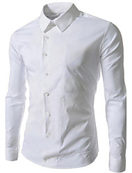 cheap -Men's Daily Work Weekend Business / Casual Plus Size Slim Shirt - Solid Colored Classic Collar White / Long Sleeve / Spring / Fall