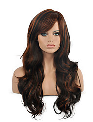cheap -top quality ombre black brown color wig long size wavy curly hair synthetic wig