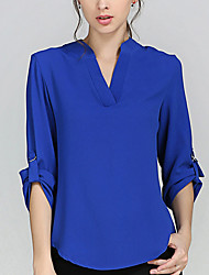 cheap -Women's Work Weekend Plus Size Blouse - Solid Color Racerback V Neck Orange / Spring / Summer / Fall
