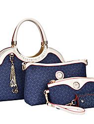 cheap -Women's PU Tote / Clutch / Shoulder Messenger Bag Bag Sets Solid Colored 4 Pieces Purse Set Brown / Blue / Pink