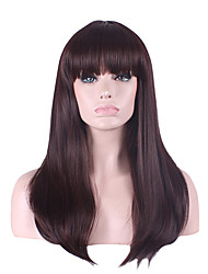 cheap -Synthetic Wig Straight Asymmetrical With Bangs Wig Long Synthetic Hair Women's Natural Hairline Brown