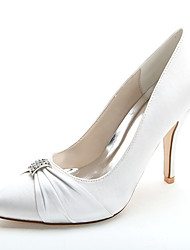 cheap -Women's Wedding Shoes Stiletto Heel Pointed Toe Rhinestone Satin Formal Shoes Spring / Summer Pink / Champagne / Ivory / Party & Evening / EU39