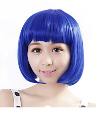 cheap -neitsi 100 kanekalon fiber 14 35cm 160g pc women s girl s cosplay short synthetic bob hair wigs blue