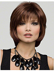 cheap -Synthetic Wig Straight Straight Bob Layered Haircut With Bangs Wig Short Medium Length Brown Synthetic Hair Women's Natural Hairline Side Part Brown