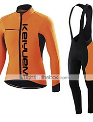 cheap -KEIYUEM Men's Women's Long Sleeve Cycling Jersey with Bib Tights Bike Clothing Suit Thermal / Warm Breathable 3D Pad Quick Dry Back Pocket Winter Sports Coolmax® Mesh Fleece Classic Clothing Apparel