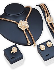 cheap -Women's Choker Necklace Necklace / Bracelet Bridal Jewelry Sets Flower Ladies Fashion Earrings Jewelry Golden For Wedding Party Daily / Rings / Bracelets & Bangles