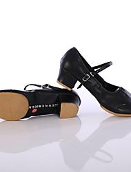 cheap -Women's Dance Shoes Synthetics Latin Shoes Buckle Split Sole Chunky Heel Customizable Black / Fuchsia / Red / Indoor / Performance / Practice / EU40