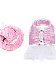 cheap -Dog Dress Dog Clothes Polka Dot Bowknot Blue Pink Nylon Costume For Summer Women's With Leash
