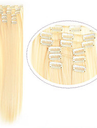 Недорогие -Искусственные волосы 22 дюймы Наращивание волос На клипсе Клип во / на Жен. Повседневные