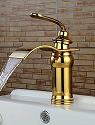 cheap -Bathroom Sink Faucet - Waterfall Ti-PVD Centerset Single Handle One HoleBath Taps / Brass