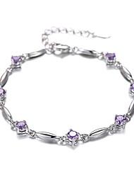 cheap -Women's Chain Bracelet - Silver Plated Fashion Bracelet White / Purple For Christmas Gifts / Wedding