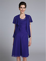 cheap -Sheath / Column Mother of the Bride Dress Convertible Dress Scoop Neck Knee Length Chiffon Short Sleeve with Beading 2021