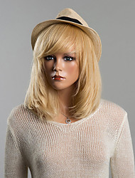 cheap -Human Hair Wig Medium Length Straight Bob Short Hairstyles 2019 With Bangs Straight Capless Women's Strawberry Blonde / Bleach Blonde Auburn Brown / Bleach Blonde Blonde / Bleached Blonde