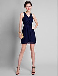 cheap -A-Line V Neck Short / Mini Chiffon Bridesmaid Dress with Pleats