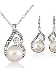 cheap -Women's Crystal Jewelry Set Drop Earrings Necklace / Earrings Ball Ladies Basic Elegant Bridal Pearl Imitation Diamond Earrings Jewelry White For Wedding Party Daily Casual Masquerade Engagement Party
