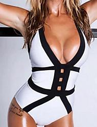 abordables -Femme Plongeant Licou Encolure plongeante Blanc Slip Brésilien Une-pièce Maillots de Bain - Bloc de Couleur Noir & Blanc Dos Nu M L XL Blanc / Super sexy