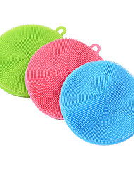 cheap -3pcs Soft Silicone Cleaning Brush Dish Wash Sponge Kitchen Scrubber Kitchen Cleaning Random Color