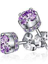 cheap -Women's Amethyst Stud Earrings Magic Back Earring Solitaire Round Cut Crown Mood Ladies Fashion Birthstones Sterling Silver Earrings Jewelry Silver / Purple For Wedding Party Daily Casual Sports