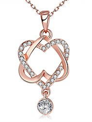 cheap -Women's Synthetic Diamond High End Crystal Pendant Necklace Interwoven Necklace Heart Interlocking Vintage Fashion Zircon Cubic Zirconia Rose Gold Plated Rose Gold Necklace Jewelry For Wedding Party