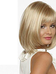 cheap -Synthetic Wig Straight Style With Bangs Wig Blonde Blonde Synthetic Hair Women's Side Part Blonde Wig Short Medium Length hairjoy