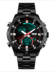 cheap -SKMEI Men's Sport Watch Quartz Japanese Quartz Stainless Steel Black / Silver 30 m Water Resistant / Waterproof LED Casual Watch Analog - Digital Charm - Black Silver Two Years Battery Life