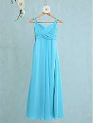 cheap -Mermaid / Trumpet Straps Floor Length Chiffon Junior Bridesmaid Dress with Criss Cross / Natural