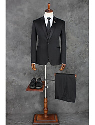 cheap -Black Solid Colored Tailored Fit Polyester Suit - Peak Single Breasted One-button / Suits