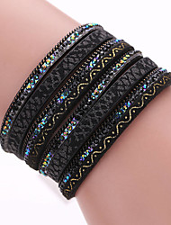 cheap -Wrap Bracelet Leather Bracelet Layered Bohemian European Fashion Boho Multi Layer Leather Bracelet Jewelry White / Black / Blue For Party Daily Casual