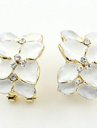 cheap -Women's Stud Earrings Earrings Flower Ladies European Fashion Resin Rhinestone Earrings Jewelry White For Wedding Party Daily Casual Sports Work