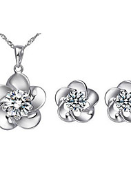 cheap -Women's Diamond Cubic Zirconia Jewelry Set Stud Earrings Pendant Necklace Round Cut Flower Ladies Fashion Zircon Cubic Zirconia Earrings Jewelry Silver For Daily Casual / Necklace / Earrings