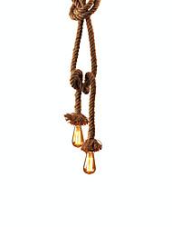 abordables -lampe pendante de corde de chanvre de groupe de cxylight à 2 lumières lumière ambiante autres le métal mini style ampoule 110-120v / 220-240v non incluse / e26 / e27