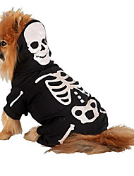 cheap -Cat Dog Costume Outfits Jumpsuit Dog Clothes Skull White Golden Cotton Costume For Spring &  Fall Winter Men's Women's Cosplay Halloween